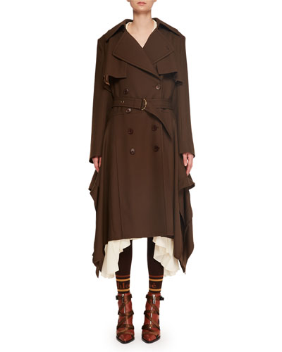 Double-Breasted Belted Drape-Side Wool Trench Coat and Matching Items