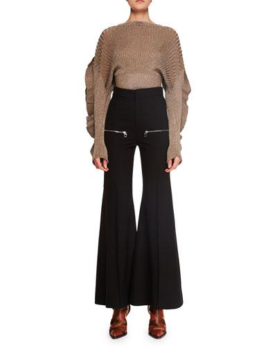 Ruffle-Sleeve Metallic-Ribbed Short Sweater and Matching Items