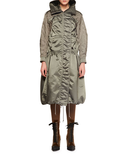 Belted Shiny Nylon Canvas Knee-Length Coat w/ Horse Sleeve Detail and Matching Items