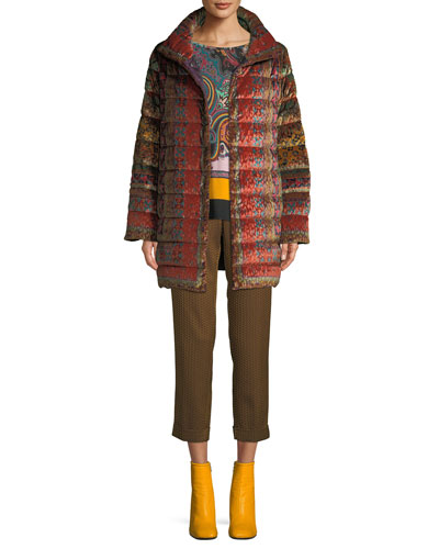 Reversible Paisley-Jacquard Velvet Quilted Mid-Length Puffer Coat and Matching Items