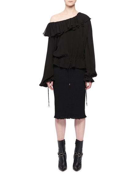 Jong Ruffle One-Shoulder Long-Sleeves Blouson Peasant Blouse