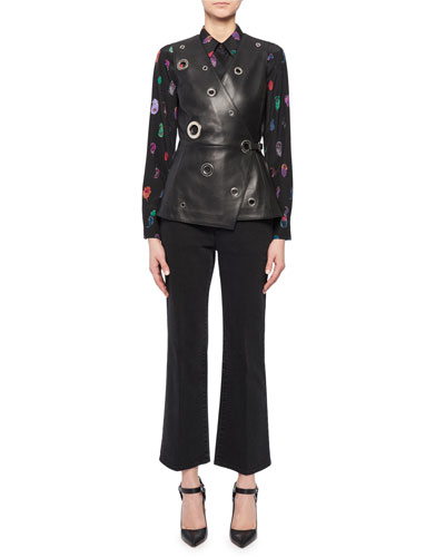 Feather-Print Silk Crepe Button-Up Blouse and Matching Items