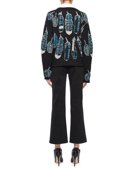Crewneck Long-Sleeve Feather-Intarsia Cashmere Sweater