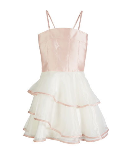 Addison Spaghetti Strap Matte Sateen & Organza Dress, Size 4-6X and Matching Items
