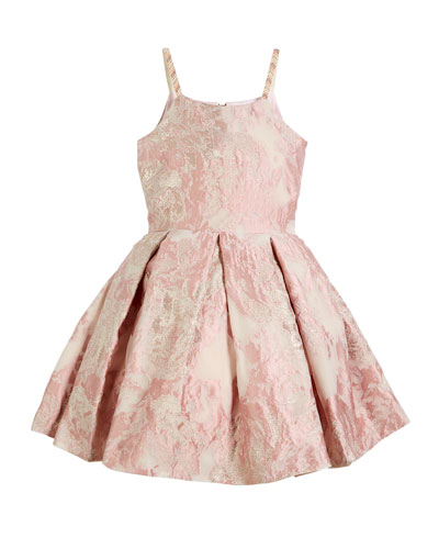 Vintage Metallic Burnout Brocade Dress w/ Jeweled Straps, Size 2-6X and Matching Items