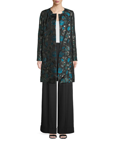 Open-Front Metallic Floral-Jacquard Coat and Matching Items