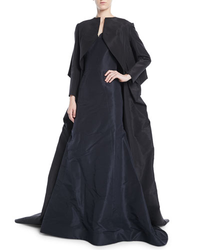 Long-Sleeve Silk Faille Long Evening Jacket  and Matching Items