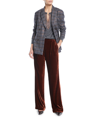 Double-Breasted Metallic Plaid Blazer w/ Leather Belt and Matching Items