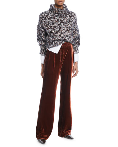 Turtleneck Long-Sleeve Velvet Effect Tweed Paillettes Mohair-Blend Sweater and Matching Items
