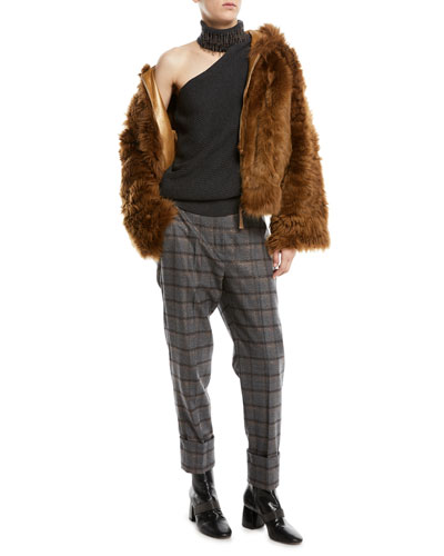 Zip-Front Reversible Leather Sheep Fur Jacket and Matching Items