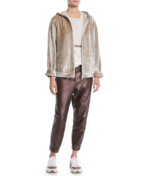Zip-Front Velvet Hooded Jacket