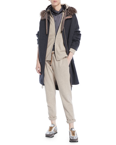 Zip-Front Felpa Cashmere-Cotton Jacket w/ Satin Inner Hood and Matching Items