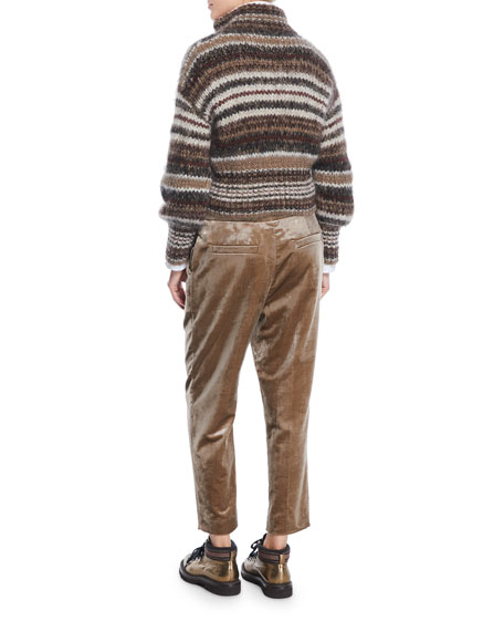 Zip-Front Striped Mohair Cardigan