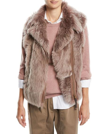 Zip-Front Shearling Fur Moto Vest