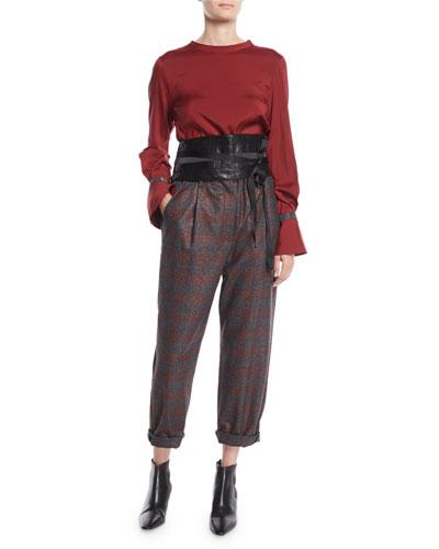 Jewel-Neck Long-Sleeve Monili Flounce-Cuff Silk Blouse and Matching Items