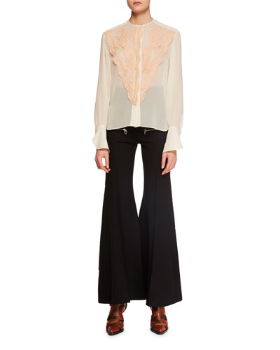 Long-Sleeve Lace-Front Chiffon Blouse  and Matching Items