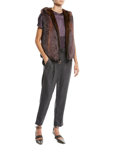 Wool Check Side-Zip Pants w/ Monili Waistband and Matching Items