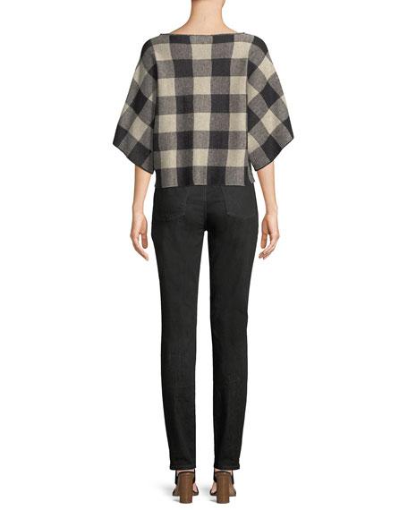3/4-Sleeve Linen Checkerboard Sweater
