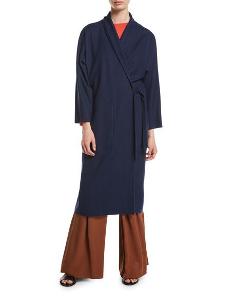 Boiled Wool Jersey Long Wrap Jacket, Petite