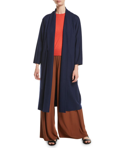 Boiled Wool Jersey Long Wrap Jacket, Plus Size and Matching Items