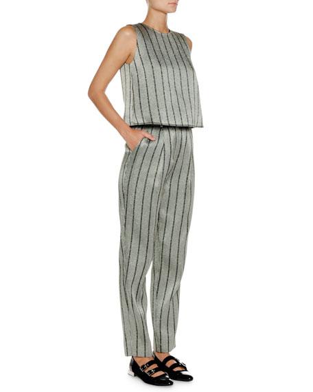 Jewel-Neck Strappy-Back Striped Satin Shell Top
