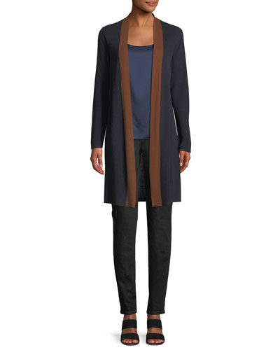 Contrast-Trim Side-Slit Cardigan  and Matching Items