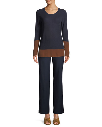 Contrast-Trim Silk-Blend Sweater, Plus Size and Matching Items