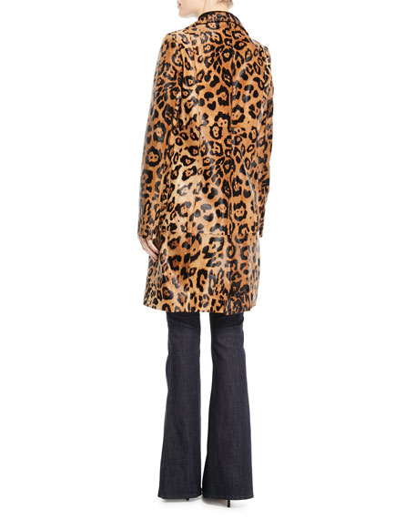 Angelina Leopard-Print Calf Hair Coat