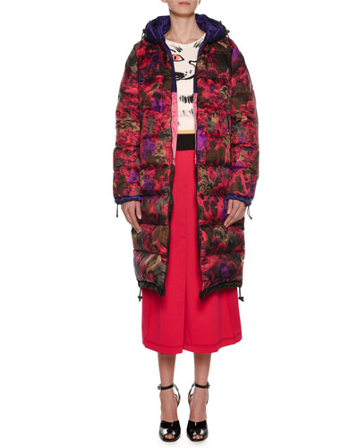 Photo Camo-Print Reversible Knee-Length Puffer Coat and Matching Items