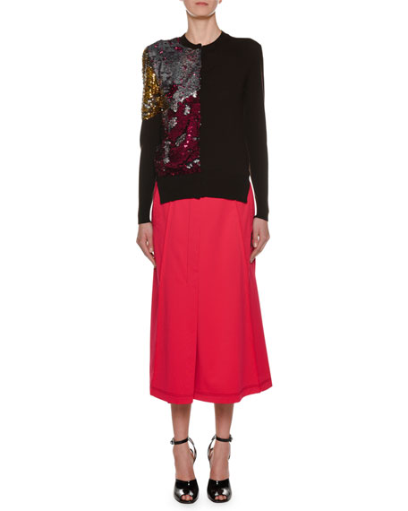 Crewneck Long-Sleeve Sequin Wool Sweater