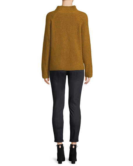 Tweedy Funnel-Neck Sweater
