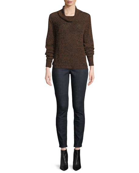 Textured-Knit Funnel-Neck Sweater