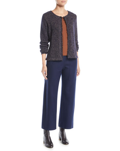 Fringed-Edge Round-Neck Cardigan, Petite and Matching Items