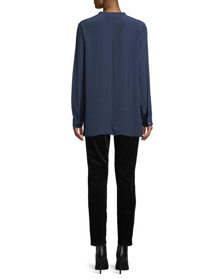 Long-Sleeve Silk Crepe de Chine Boyfriend Shirt, Petite