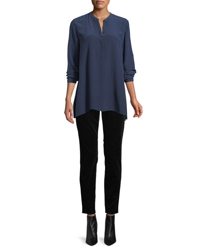 Long-Sleeve Silk Crepe de Chine Boyfriend Shirt, Plus Size and Matching Items