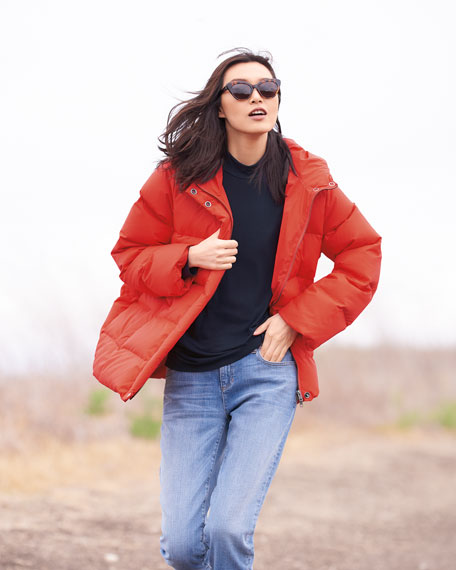Quilted Nylon Hooded Down Puffer Coat