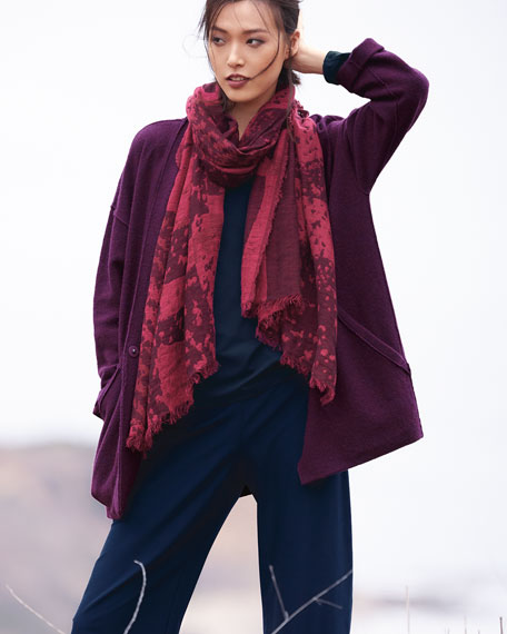 Lightweight Boiled Wool Kimono Jacket, Plus Size
