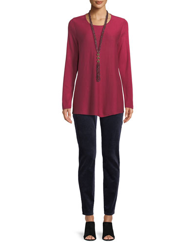 Tencel®/Silk Round-Neck Sweater, Plus Size  and Matching Items