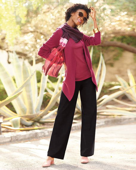 Angle-Front Silky Tencel Cardigan