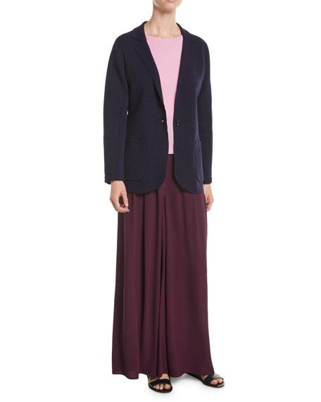 Washable Wool Crepe Blazer Jacket, Plus Size