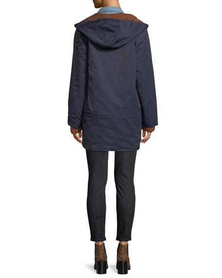 Reversible Organic Cotton/Nylon Hooded Raincoat