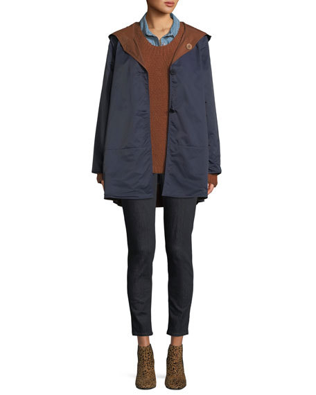 Reversible Organic Cotton/Nylon Hooded Raincoat, Petite