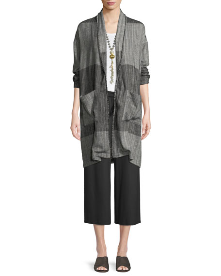 Organic Cotton Striped Long Cardigan Jacket, Plus Size
