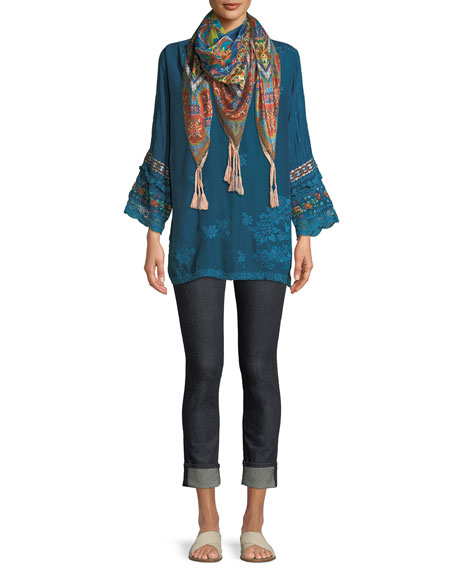 Fayan Patchwork-Sleeve Georgette Tunic, Plus Size