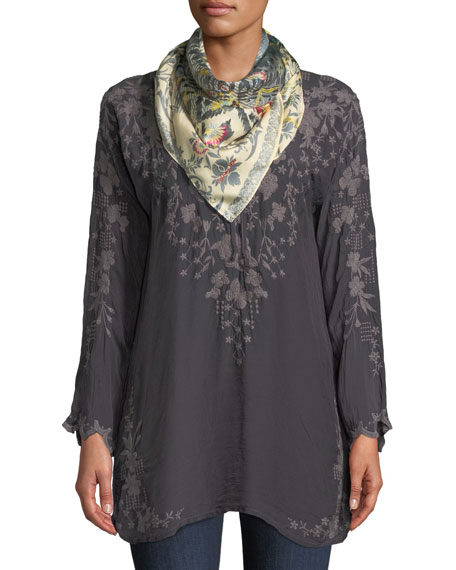 Butterfly Winter Rayon Tie-Neck Tunic, Plus Size