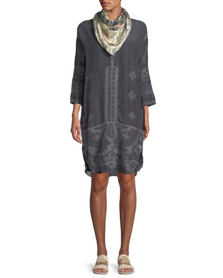 McCalli Embroidered Georgette Tunic w/ Slip, Plus Size