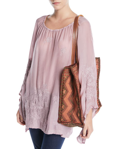 Fay Embroidered Flare-Sleeve Top and Matching Items