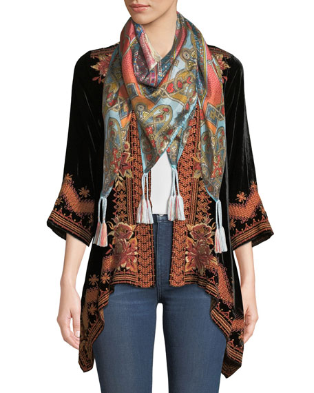 Elim Draped Velvet Cardigan, Plus Size