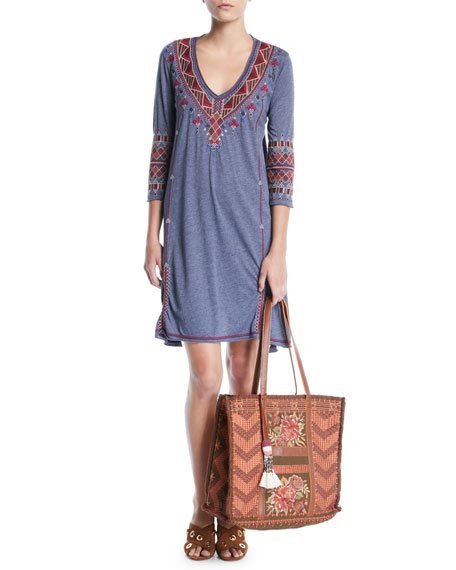 Marjan 3/4-Sleeve Embroidered Tunic Dress, Plus Size