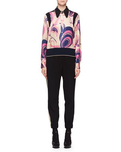 Deco Floral-Print Silk Blouse w/ Elastic Hem and Matching Items